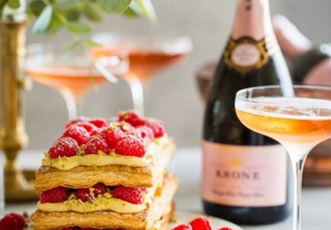 Classic French Mille-Feuille recipe by Bianca Davies to enjoy with Krone Cuvée Brut Rosé.